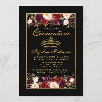 Elegant Floral Gold Frame Crown Black