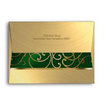 Emerald Green and Gold Filigree Swirls Envelope