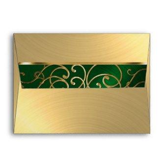 Emerald Green and Gold Filigree Swirls Envelope