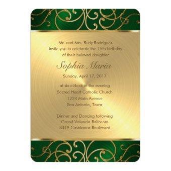Emerald Green and Gold Filigree Swirls
