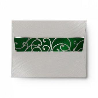 Emerald Green Silver Filigree Swirls Envelope