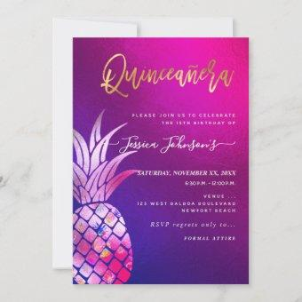 , Faux Gold Watercolor Pineapple Save The Date