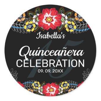 Quinceañera Fiesta Folk Art Classic Round Sticker