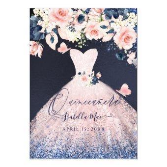 Floral Blush Glitter Gown Blue Navy