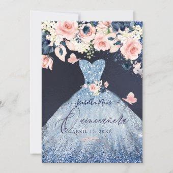 Floral Dusty Blue Glitter Gown