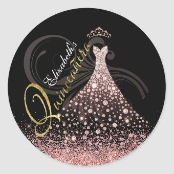 Glam Pink Jewel Gown Personalized Classic Round Sticker