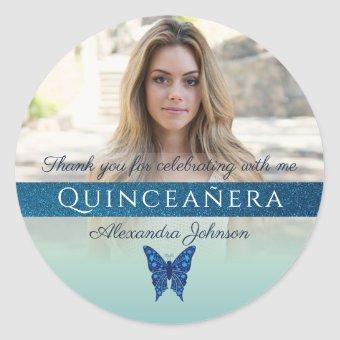 Glitter Blue Butterfly Photo Thank You Classic Round Sticker