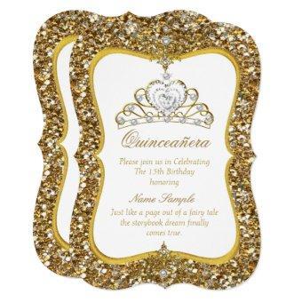 Glitter Gold White Pearl Tiara Invite