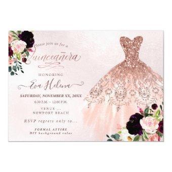 Quinceañera , Glitters Gown, Burgundy Blush
