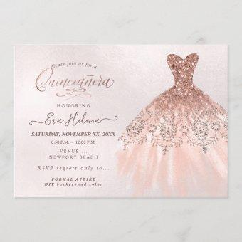 Quinceañera , Glitters Gown, Faux Rose Gold