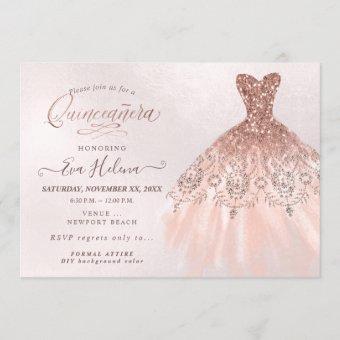 Quinceañera , Glitters Gown, Faux Rose Gold
