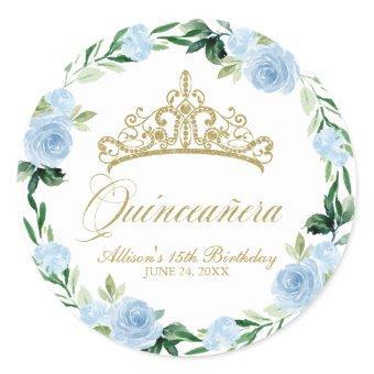 God Tiara Baby Blue Floral Classic Round Sticker