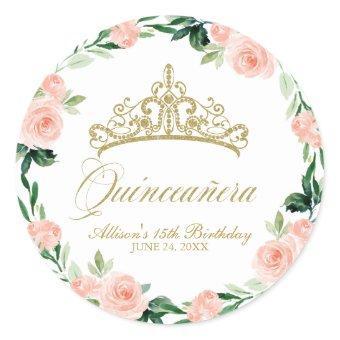 God Tiara Blush Pink Floral Classic Round Sticker