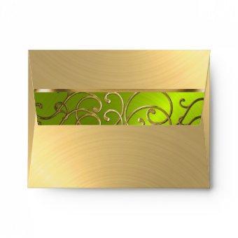 Gold and Lime Filigree Swirl Border Envelope