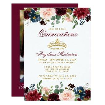 Gold Crown Burgundy Blue Floral Photo