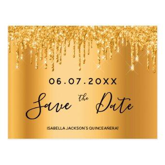 gold glitter details save the date post