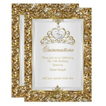 Gold Glitter White Pearl Tiara 2