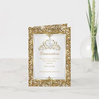 Gold Glitter White Pearl Tiara Photo