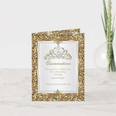Gold Glitter White Pearl Tiara Photo