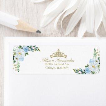 Gold Tiara Baby Blue Floral Label