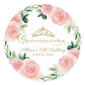 Gold Tiara Blush Pink Floral Classic R Classic Round Sticker