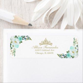 Gold Tiara Teal Floral Label