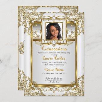 Gold White Pearl Damask Photo Birthday