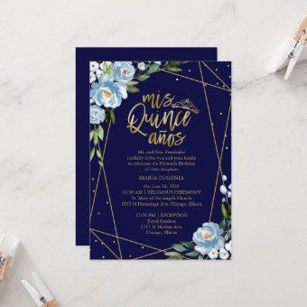 Gold Foil Dark Blue Floral