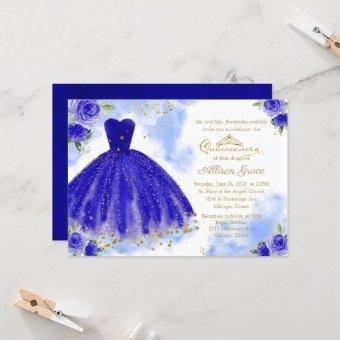 Gold Foil Royal Blue Gown