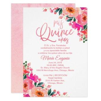 Quinceanera Invitation Spanish Hot Pink Floral