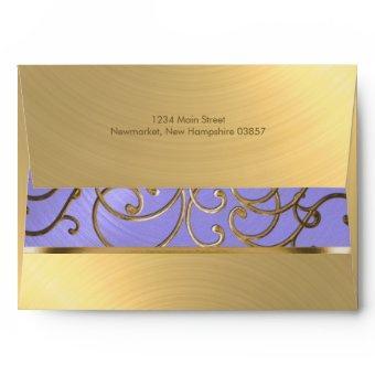 Lavender Purple and Gold Filigree Envelope