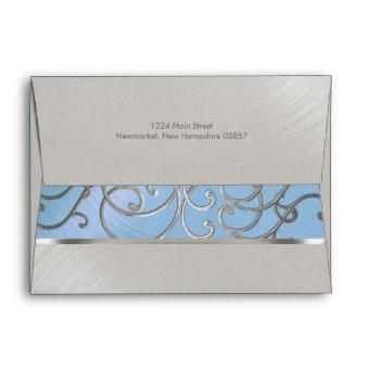 Light Blue and Silver Filigree Swirls Envelope