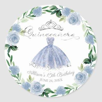 Light Blue Silver Gown Floral Classic Round Sticker