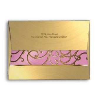 Lilac Pink and Gold Filigree Swirls Envelope