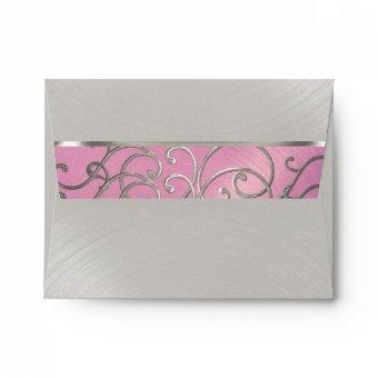 Lilac Pink and Silver Filigree Swirls Envelope