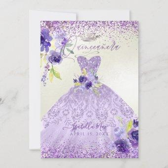 Lilac Purple Silver Glitter Gown Invit