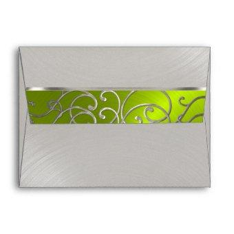 Lime Green and Silver Filigree Swirls Envelope