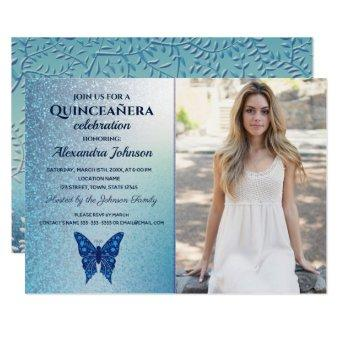 Luxury Glitter Blue Butterfly Photo