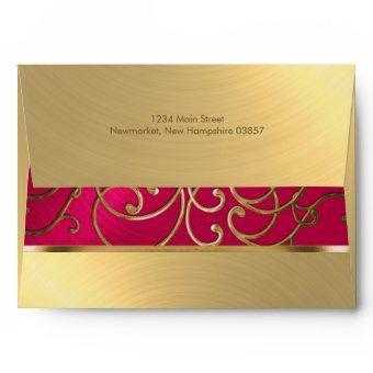 Magenta Pink and Gold Filigree Swirls Envelope