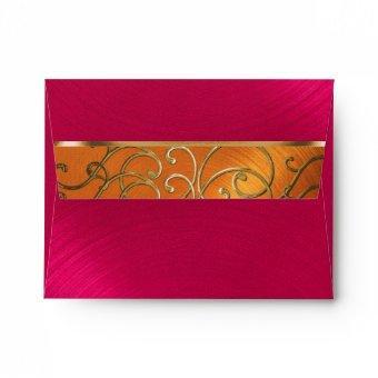 Magenta Pink Orange Gold Filigree Envelope