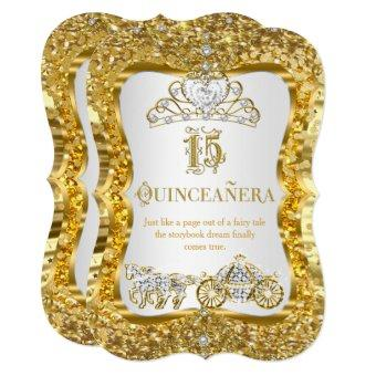 Quinceanera Magical Tiara Gold White Invite