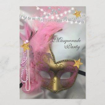 Masquerade Gold Glitter Pink Pearls