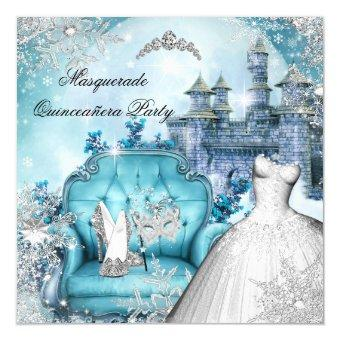 Quinceanera Masquerade Magical Princess Blue Invitations