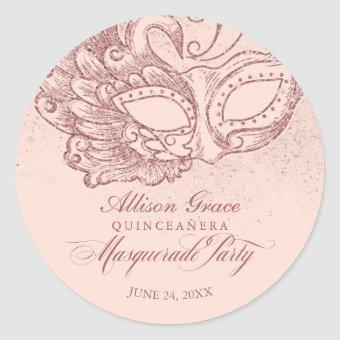 Masquerade Party Rose Gold Pink Classic Round Sticker