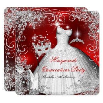 Masquerade Red White Snowflakes 2