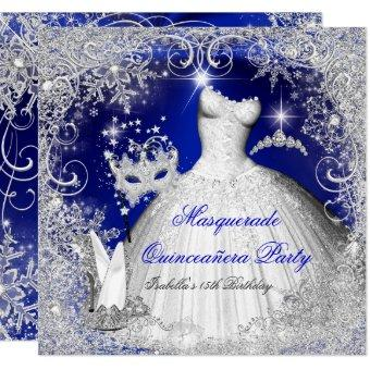 Masquerade Royal Blue White Snowflakes