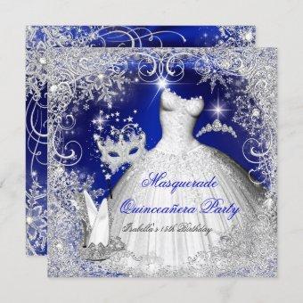 Masquerade Royal Blue White Snowflakes