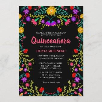 Mexican Fiesta Floral Black Birthday