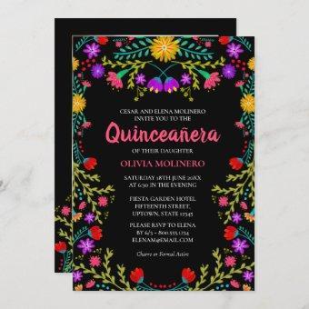 Mexican Fiesta Floral Black Photo