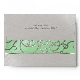 Mint Green and Silver Filigree Swirls Envelope